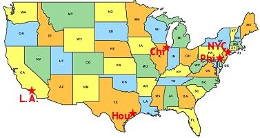 major cities in the usa enchantedlearningcom us major cities map