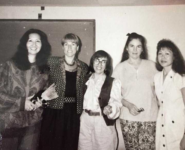 Trina Nahm-Mijo, left, at the opening of the Women's Center at UH Hilo in 1990.