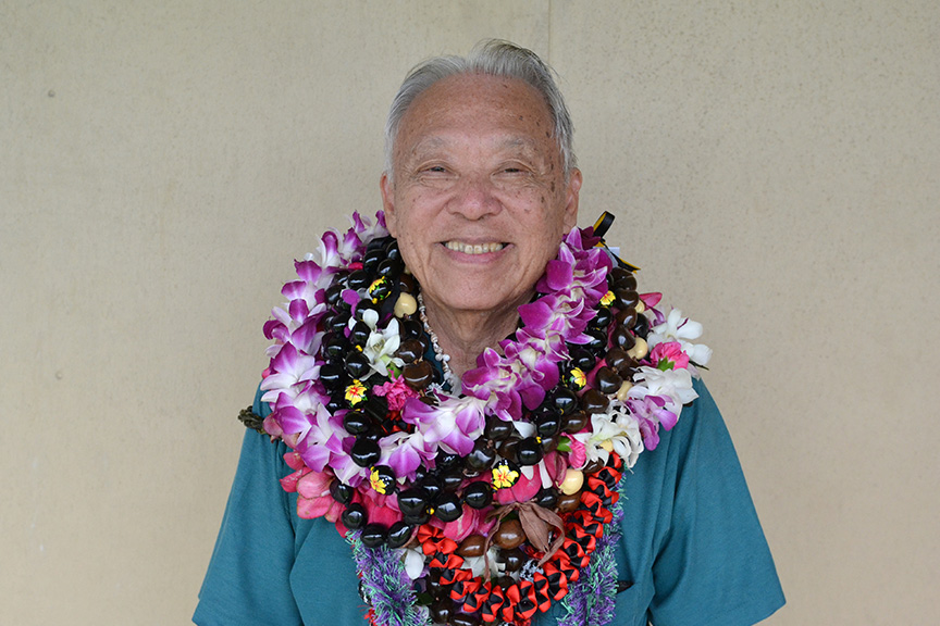 Portrait with leis