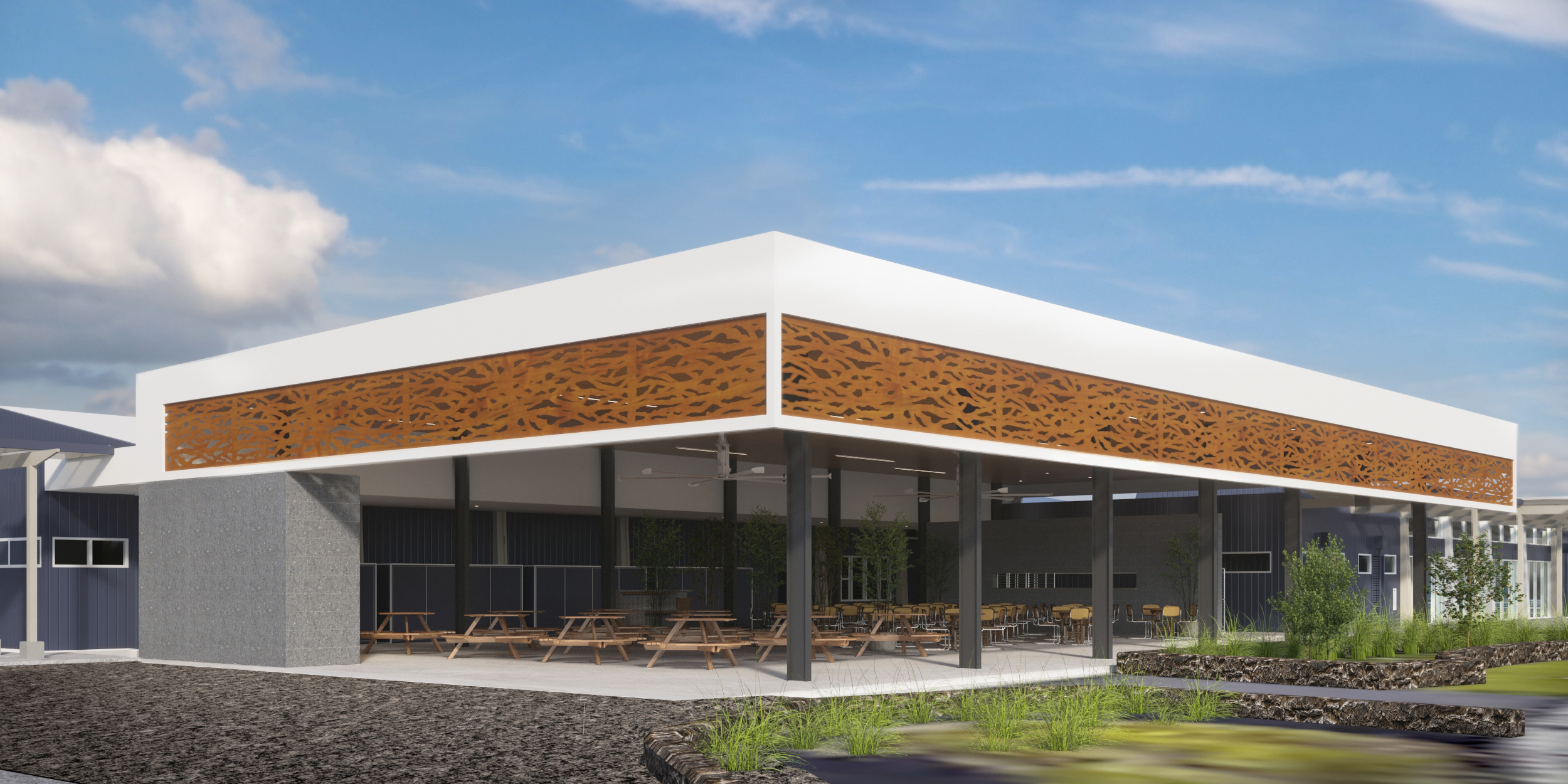 An rendering of what the lanai project at Hawai'i Community College – Pālamanui will look like when complete.